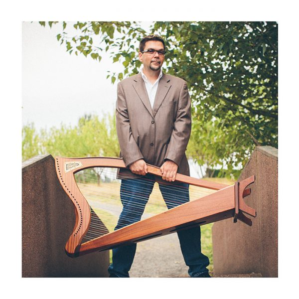 Seumas Gagne with his Harp
