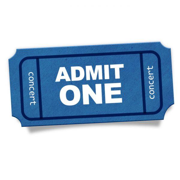 Admit One Blue Ticket Stub