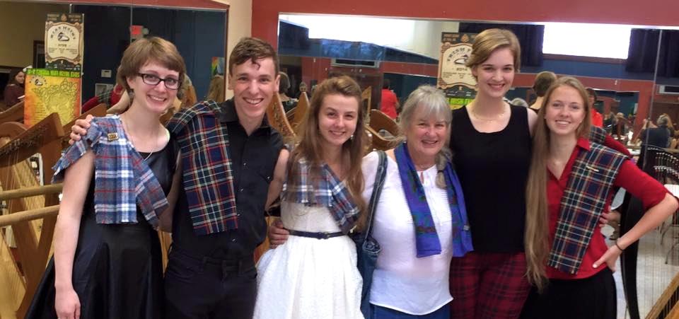 Pictured left to right: Pearl DeRocher, Philip Hommes Grace DeRocher, Georganne Hunter, Katie Elmer, Marilla Hanson.